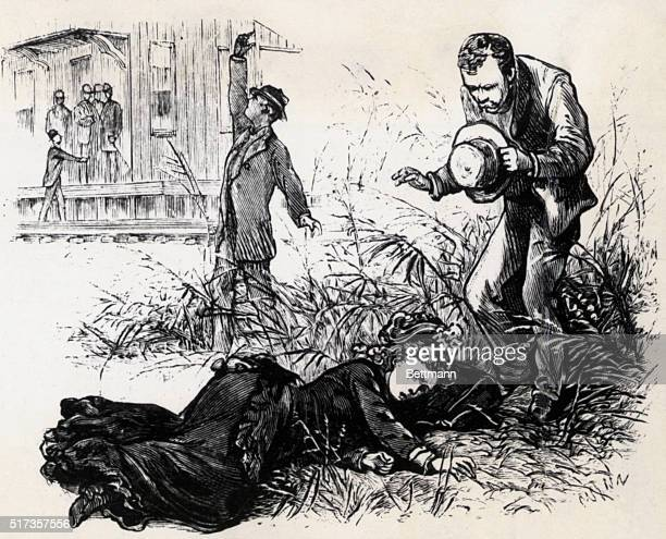 Engraving depicting a woman dying beside a railroad track at Grand Junction Tennessee From a series of images entitled 'THE GREAT YELLOW FEVER...
