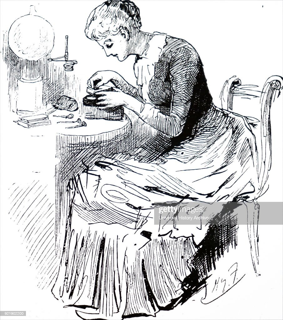 Engraving depicting a woman preparing a wood block. Wood engraving was considered a 'suitable' employment for young women. Dated 19th century.