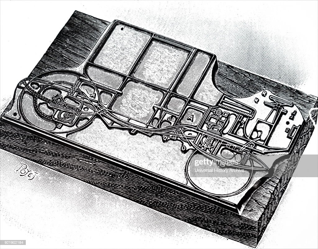 Engraving depicting a wood mounted line block for printing using photography and etching. Dated 20th century.