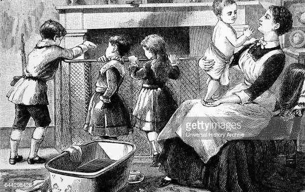 Engraving depicting a young nursemaid preparing for 'bath time' in a Nursery Dated 19th Century
