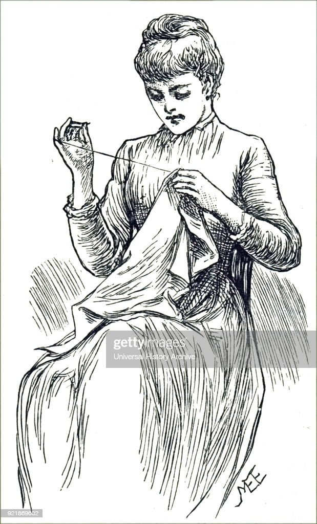 Engraving depicting a young woman sewing. Dated 19th century.