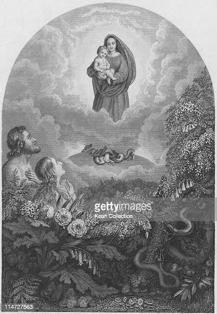 Engraving depicting Adam and Eve in the Garden of Eden gazing up at a vision of the Virgin Mary hold the Christ child while standing on the head of a...