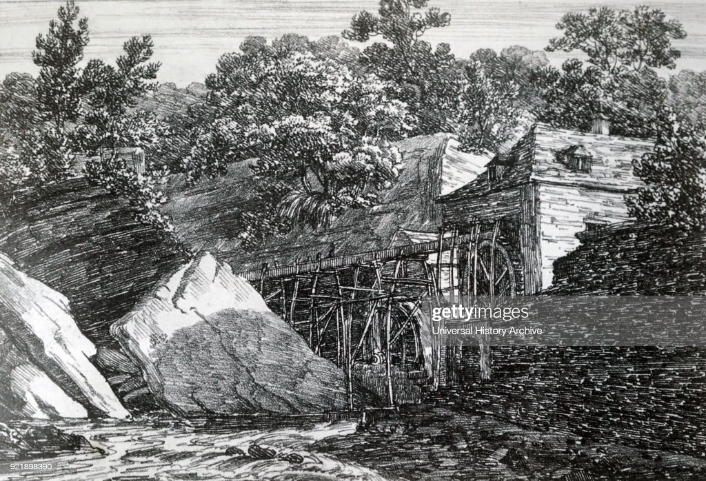 Engraving depicting Aderdulais Mill in the Vale of Neath, South Wales. Dated 19th century.