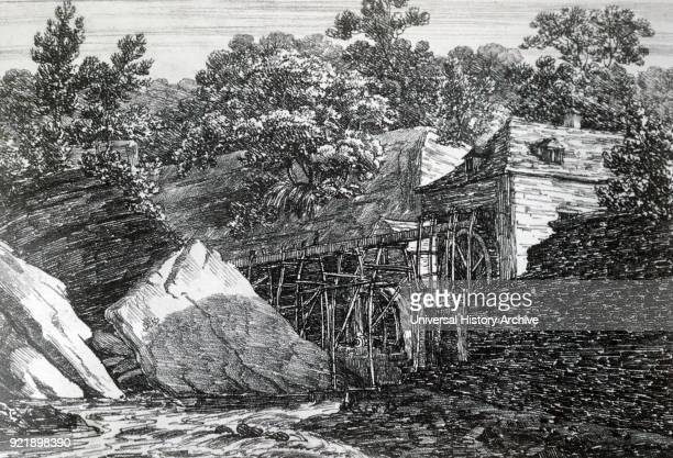 Engraving depicting Aderdulais Mill in the Vale of Neath South Wales Dated 19th century