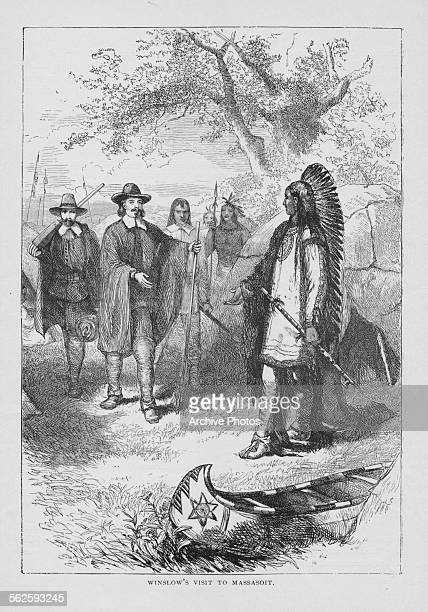 Engraving depicting American colonial leader Edward Winslow visiting Massasoit leader of the Wampanoag Native Americans circa 1641