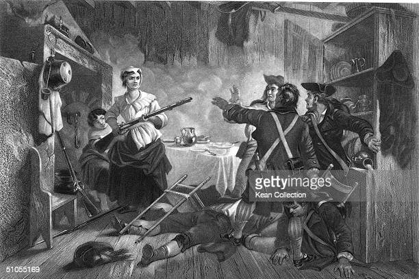 Engraving depicting American housewife Nancy Hart holding British soldiers at gunpoint after killing two of their comrades during the American...