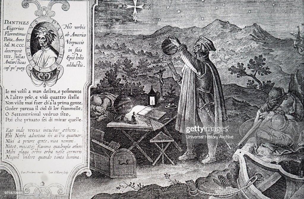 Engraving depicting Amerigo Vespucci (1454-1512) an Italian explorer, financier, navigator and cartographer. Dated 16th century.