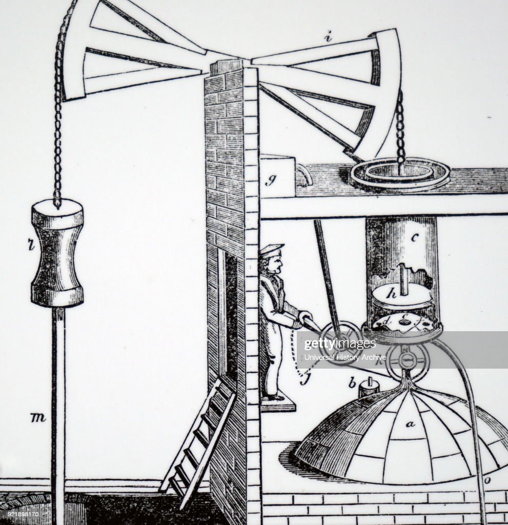 Engraving depicting an adaptation of Newcomen's atmospheric steam engine. The boiler lies outside the picture to the left, but the open cylinder F) is clearly shown, as is the receiver E) which prevents cold water for condensing steam from entering the boiler. Dated 19th century.
