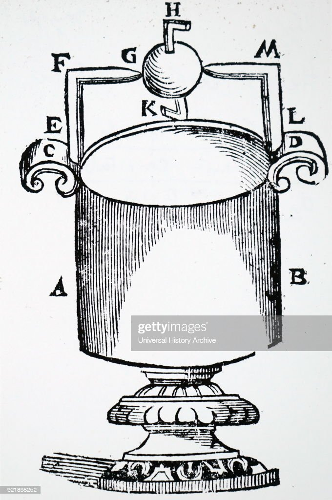 Engraving depicting an Aeolipile, a simple bladeless radial steam turbine which spins when the central water container is heated. Dated 19th century.