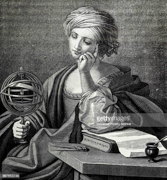 Engraving depicting an allegorical figure representing Astronomy shown holding an armillary sphere Dated 19th century