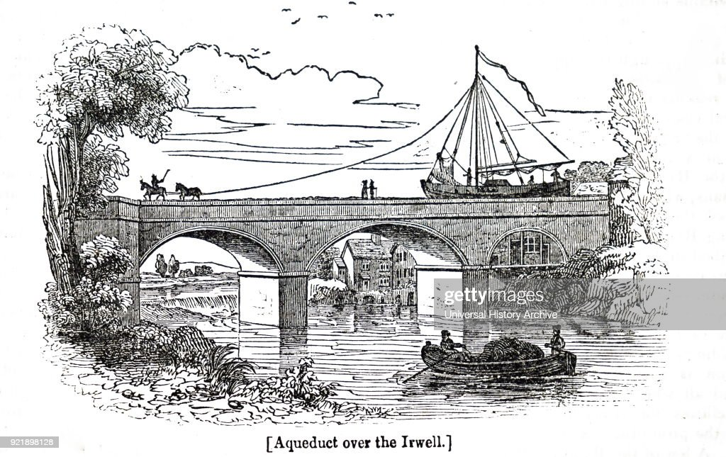 Engraving depicting an aqueduct over the River Irwell. Dated 19th century.