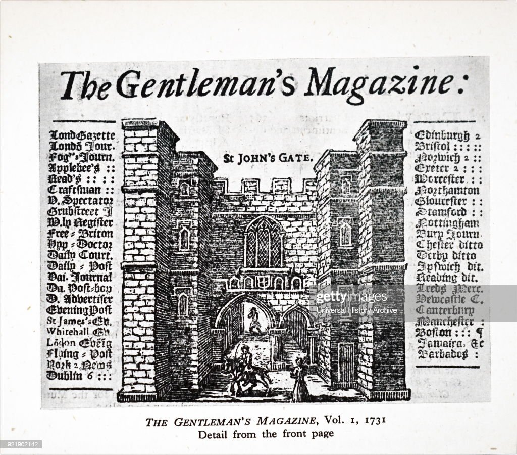 Engraving depicting an early newspaper title page. Dated 18th century.
