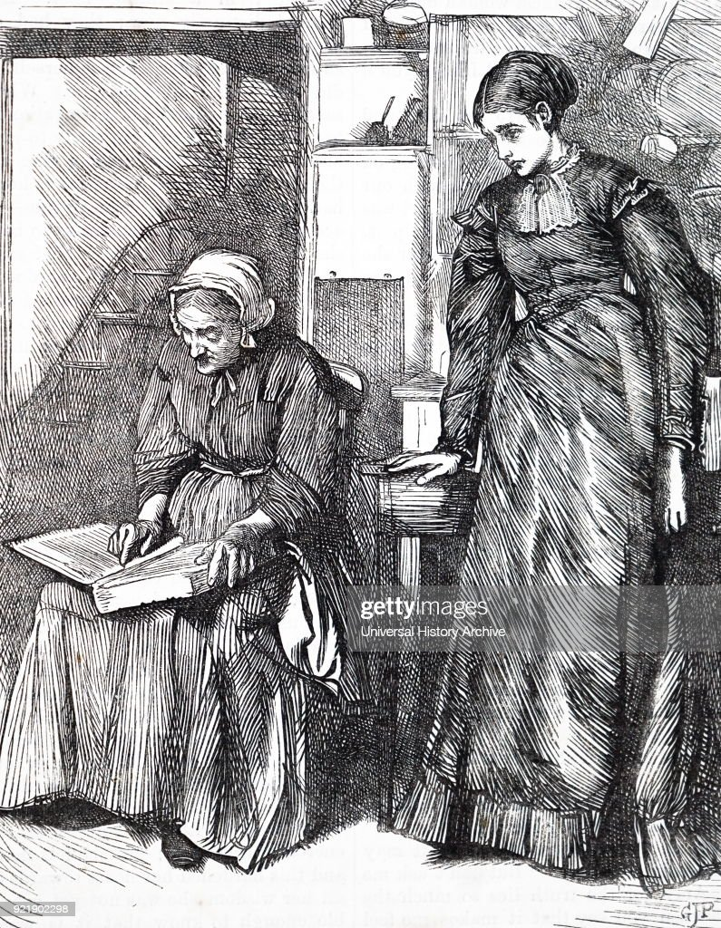 Engraving depicting an elderly woman reading to her granddaughter. Dated 19th century.
