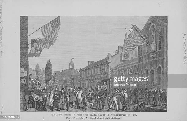 Engraving depicting an election scene outside Independence Hall or State House Philadelphia 1815 Engraved from the original painting by J Krimmel