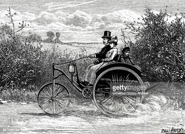 Engraving depicting an electric dogcart This vehicle powered by battery could run for six hours without recharging and was capable of a speed of 9...