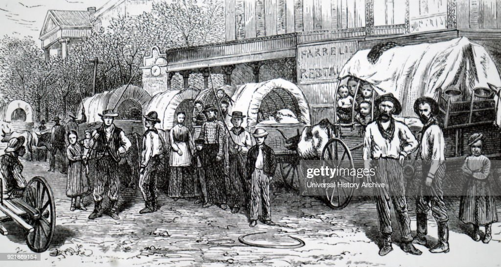 An emigrant wagon train. : News Photo