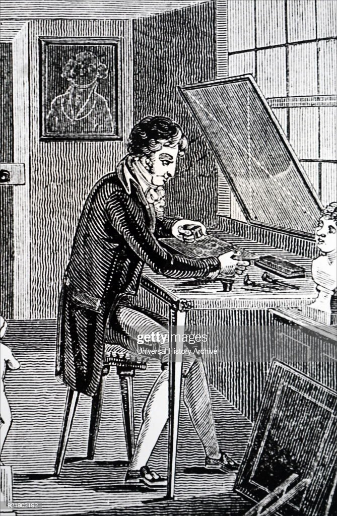 Engraving depicting an engraver's workshop. Dated 19th century.