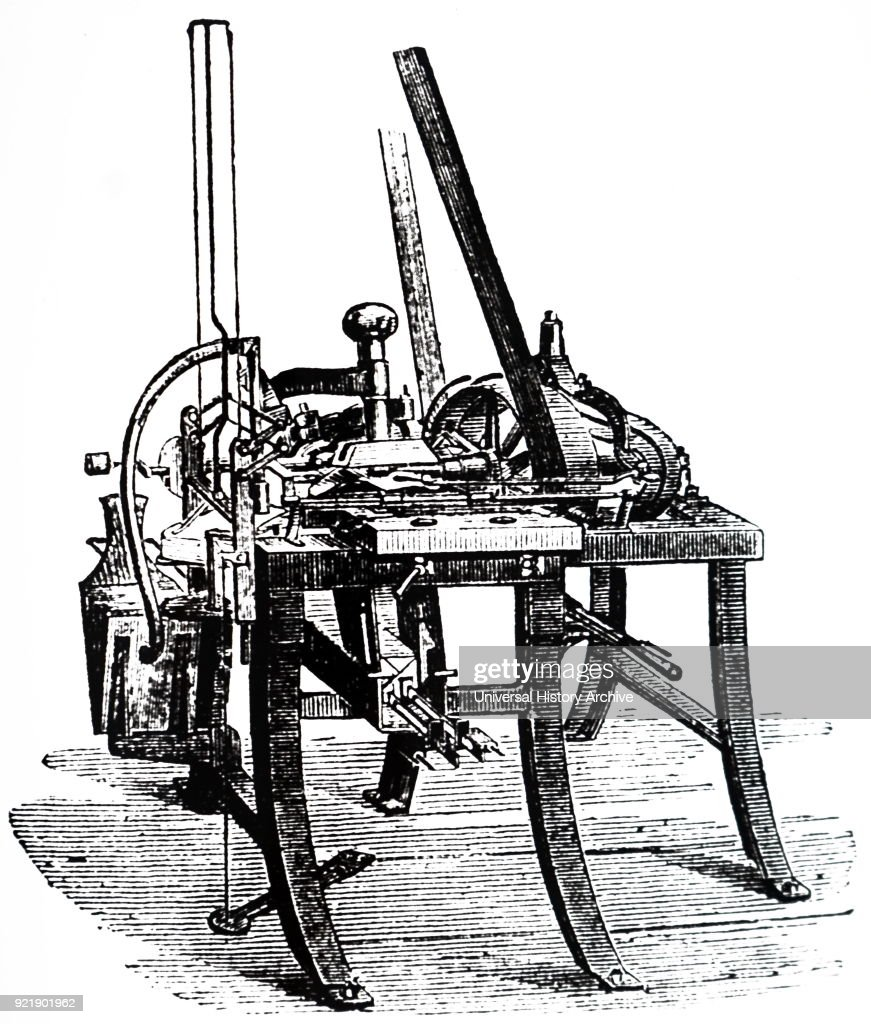 Engraving depicting an envelope folding machine, manufactured by R. Fenner to their patent with improvements. Dated 19th century.
