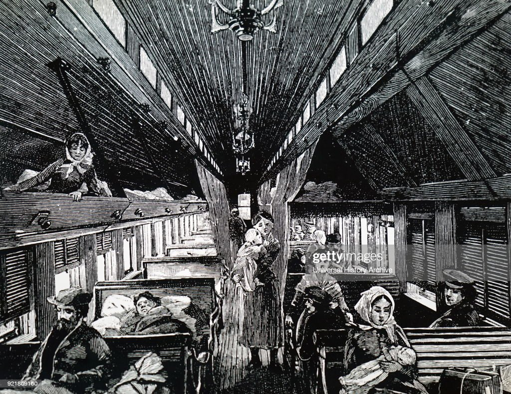 Engraving depicting an immigrant sleeping car on the Canadian Pacific Railway. Dated 19th century.