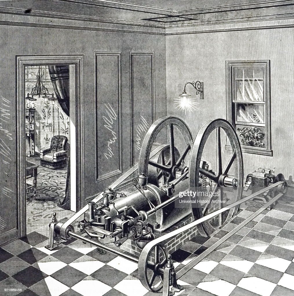 Engraving depicting an Otto gas engine being used to run electric lights at the Philadelphia Electrical Exhibition. Dated 19th century.
