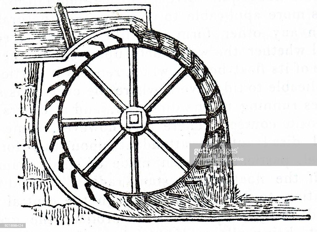 Engraving depicting an overshot water wheel. Dated 19th century.