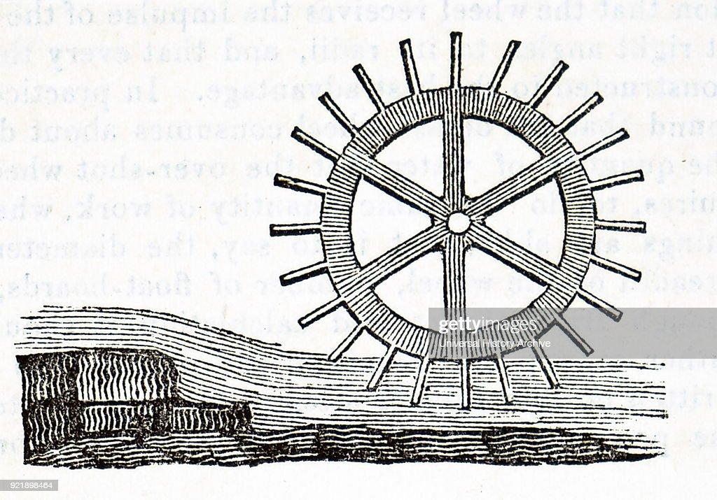 Engraving depicting an undershot water wheel. Dated 19th century.