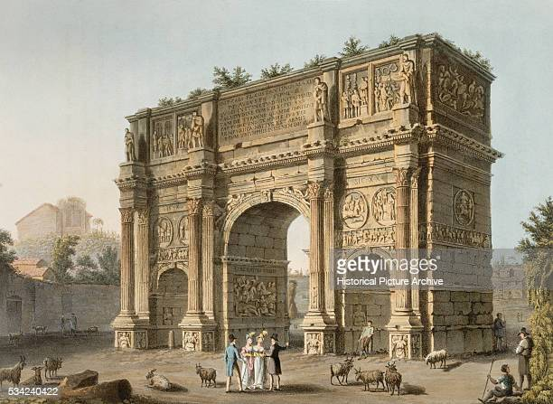 Engraving Depicting Arch of Constantine in Rome by Matthew Dubourg