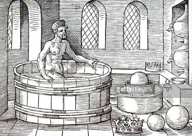 Engraving depicting Archimedes an Ancient Greek mathematician physicist engineer inventor and astronomer sitting in his bath Dated 16th Century