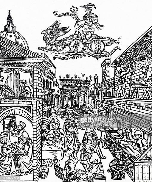 Engraving depicting arts and crafts in Florence during the 14th Century