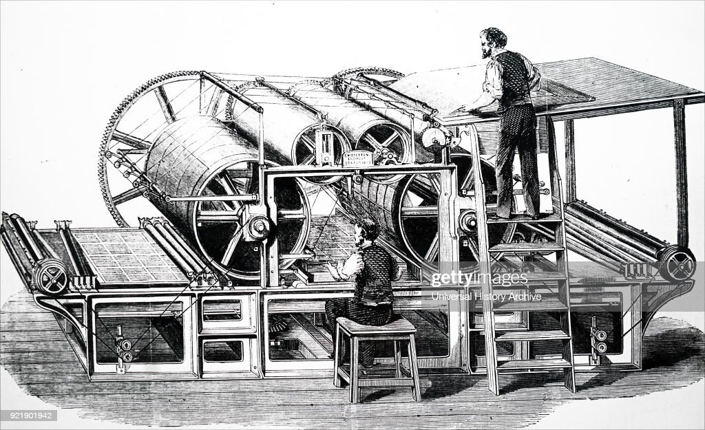 Engraving depicting Augustus Applegath's double cylinder perfecting machine. Augustus Applegath (1788-1871) an English printer and inventor known for developing the first workable vertical-drum rotary printing press. Dated 19th century.