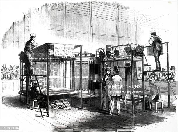 Engraving depicting Augustus Applegath's rotary press. Augustus Applegath an English printer and inventor known for developing the first workable...