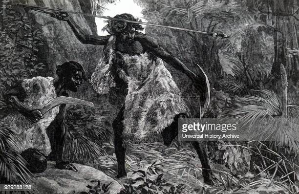 Engraving depicting Australian aborigines hunting with a spear launched by a throwing stick and boomerang Dated 19th Century