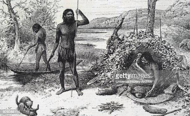 Engraving depicting Australian aborigines in their encampment Dated 19th Century
