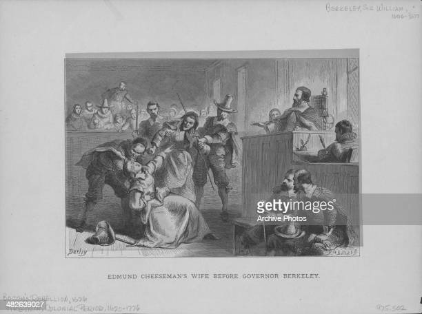 Engraving depicting Bacon's Rebellion Edmund Cheeseman's wife fainting before Governor William Berkeley Jamestown Virginia 1676