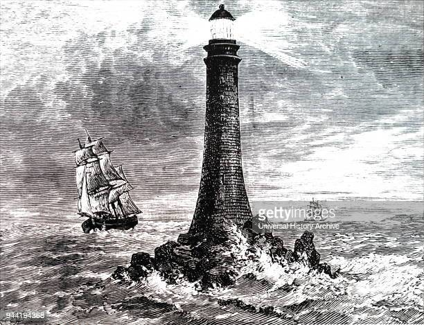 Engraving depicting Bell Rock Lighthouse, located off the coast of Angus, Scotland, designed by Robert Stevenson. Robert Stevenson a Scottish civil...