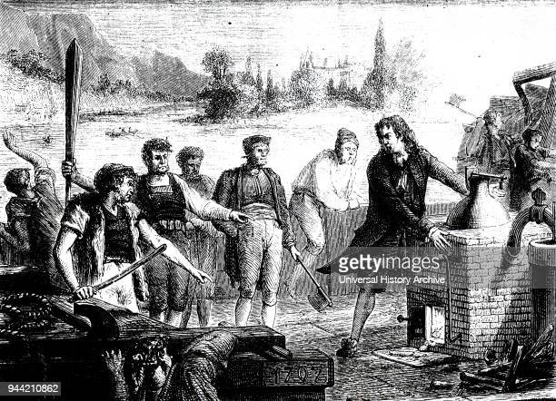 Engraving depicting boatmen of the Weser destroying Denis Papin's steam engine Denis Papin a French physicist mathematician and inventor Dated 19th...