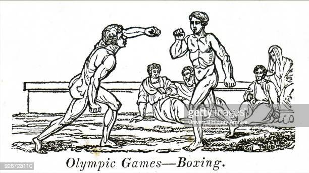 Engraving depicting boxers in ancient Olympic Games Dated 19th century