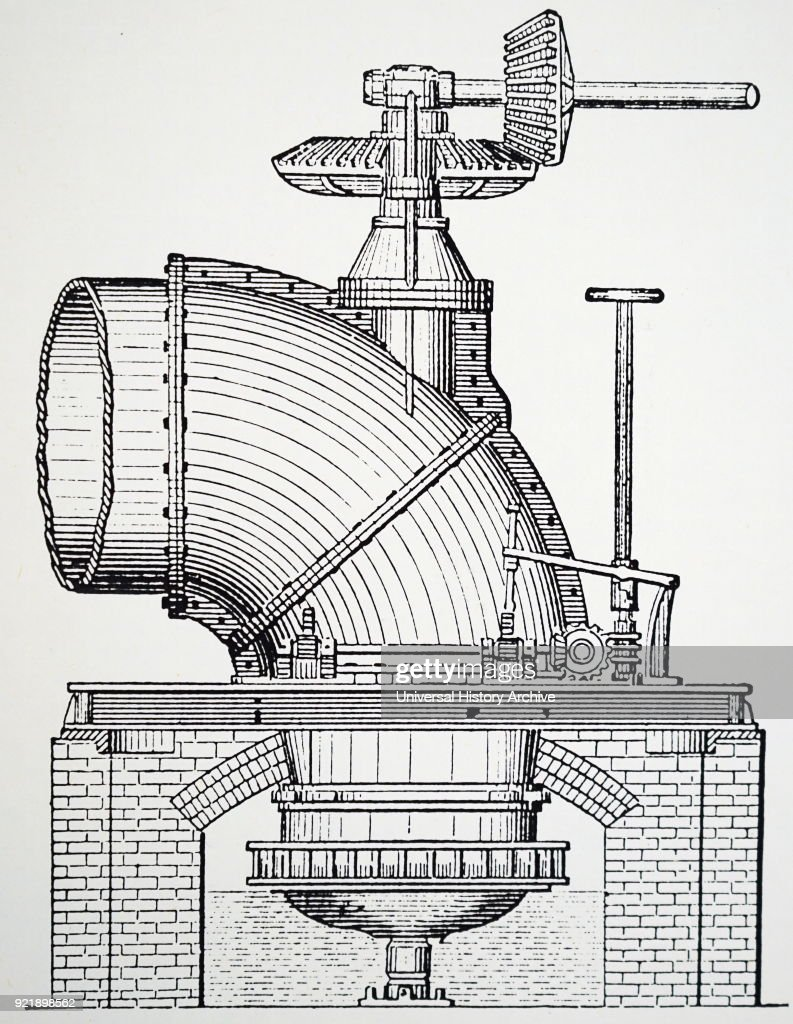Engraving depicting Boyden's outward flow turbine, based on the Fourneyron principle. Dated 19th century.