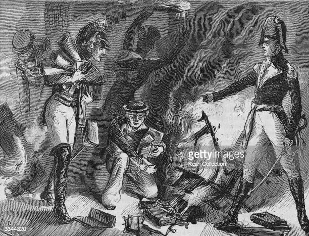 Engraving depicting British military officers in uniform burning books following the War of 1812 Washington DC circa 1814