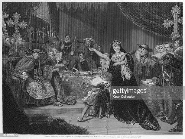 Engraving depicting Catherine of Aragon first wife of Henry VIII of England pictured defending herself at a religious court against Henry VIII's...