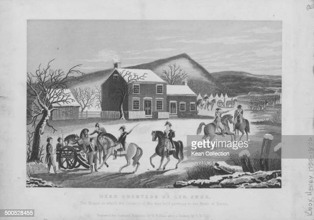 Engraving depicting cavalry arriving at the headquarters if General Henry Knox where the war council was held prior to the Battle of Trenton New...