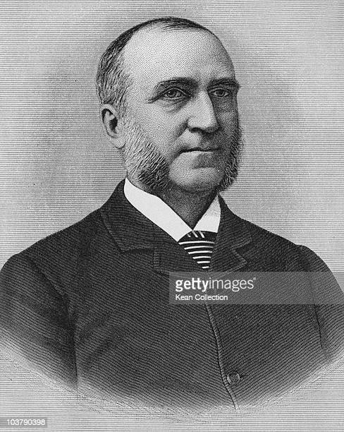 Engraving depicting Chauncey Mitchell Depew , attorney for the railroad interests of Cornelius Vanderbilt, president of the New York Central Railroad...