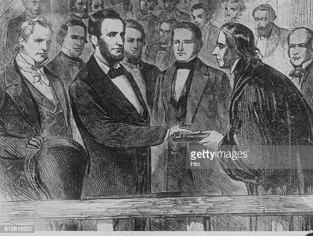 Engraving depicting Chief Justice Taney administering the oath to President Abraham Lincoln at his inauguration Washington D C March 4th 1861