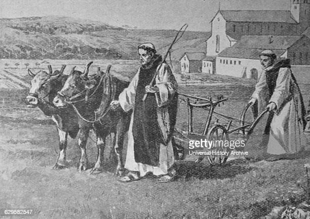 Engraving depicting Cistercian monks and their simple methods of life. Cistercian Order is the religious order of monks and nuns.