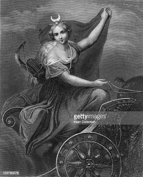 Engraving depicting Diana Roman goddess of the moon and the hunt in Roman mythology pictured riding a chariot Ancient Rome circa 10000 BC Engraved by...