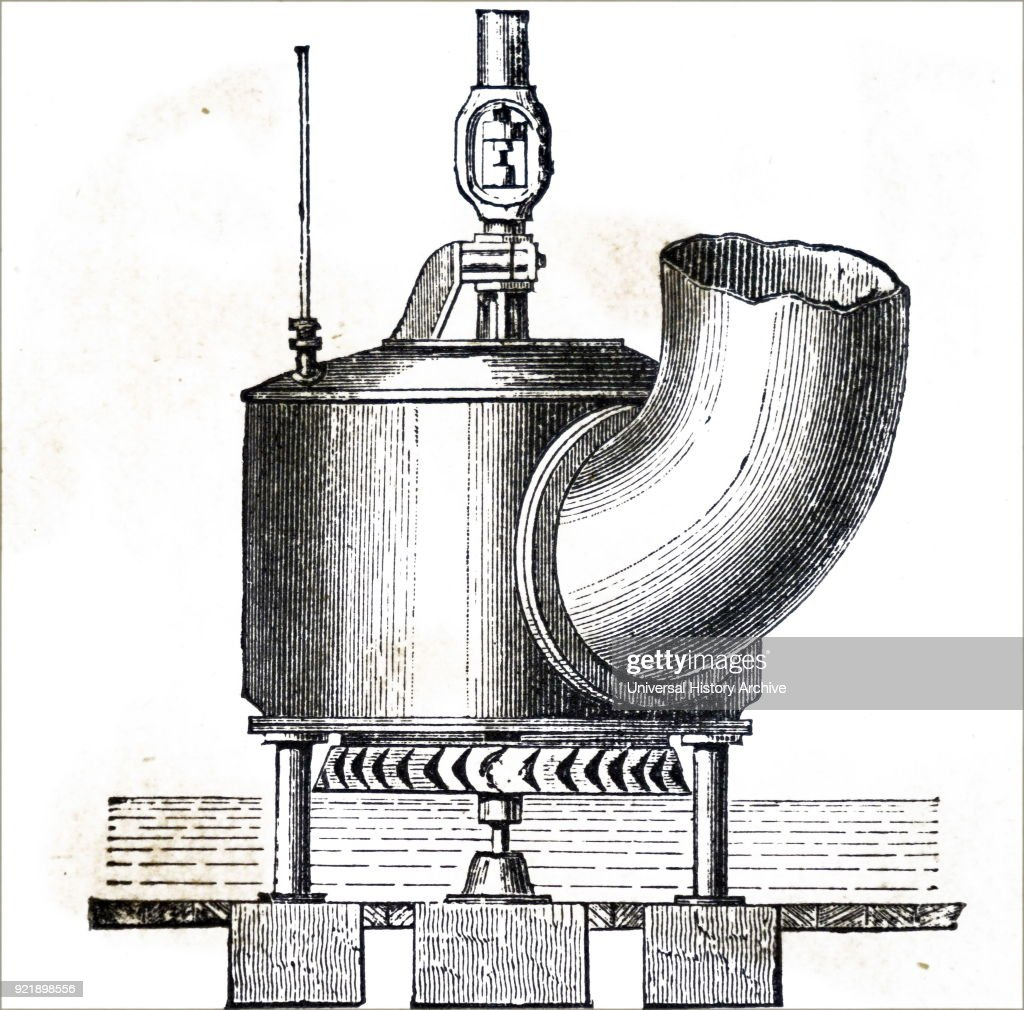 Engraving depicting Donkin's turbine. Dated 19th century.