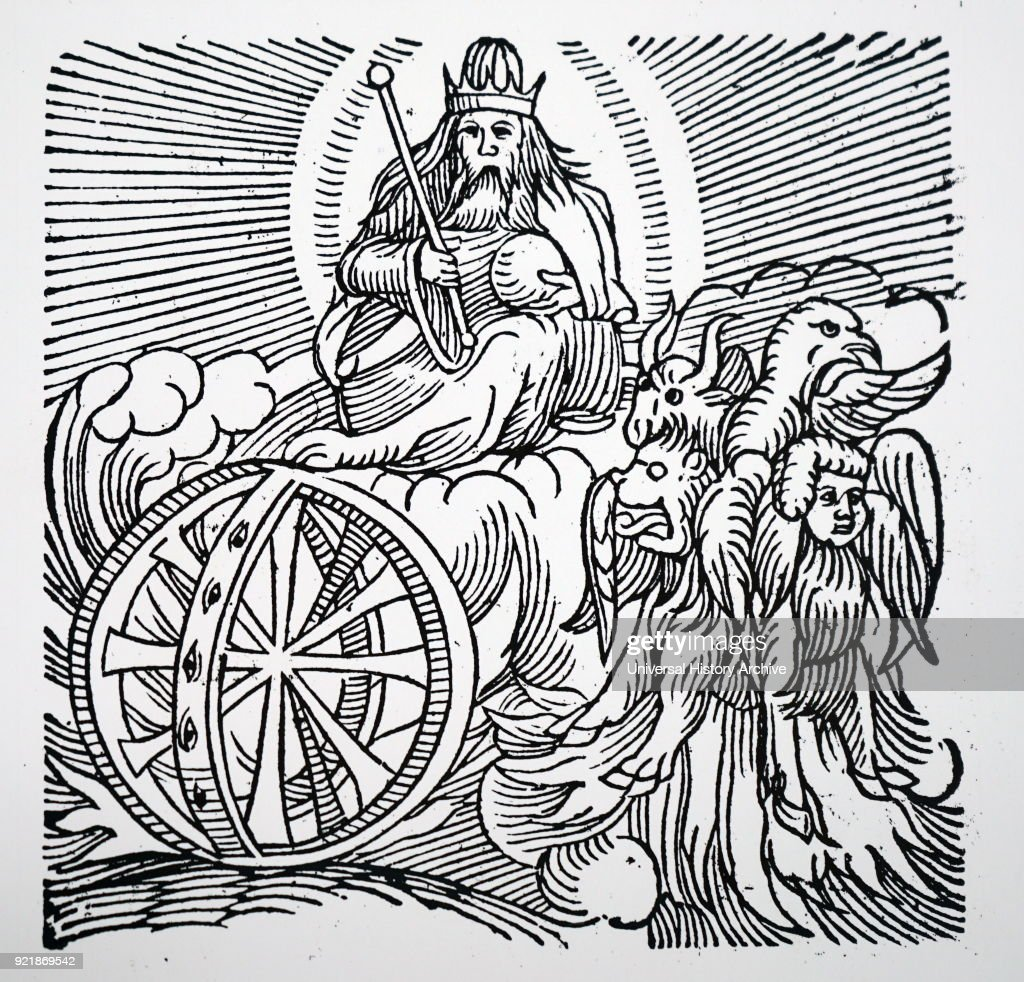 Engraving depicting Ezekiel's vision of a chariot in the sky. Dated 16th century.