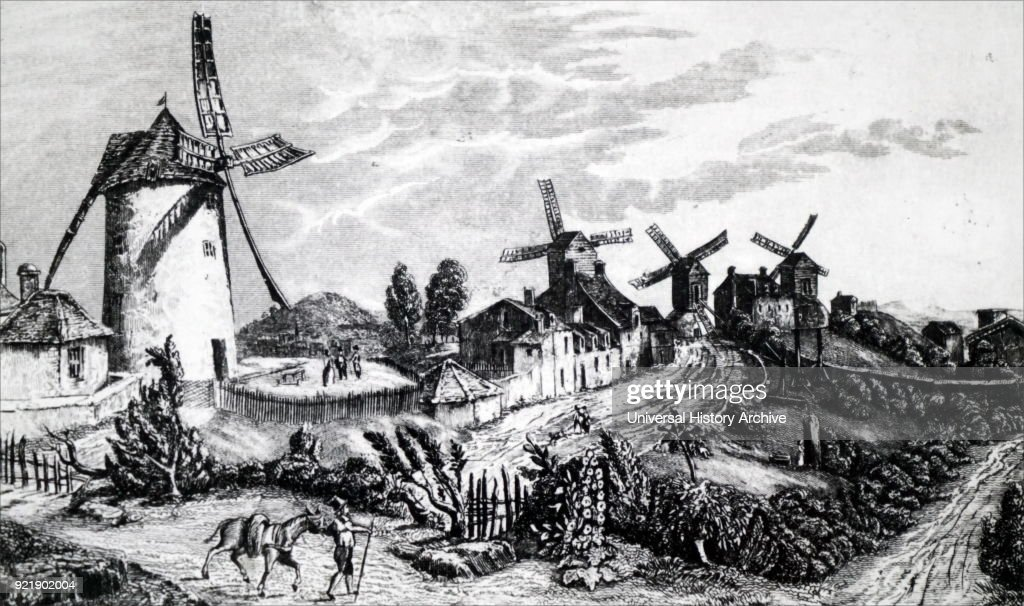 Engraving depicting flour mills at Wolverly, Warwickshire. On the left is a tower mill: the remaining three are post mills. Dated 19th century.