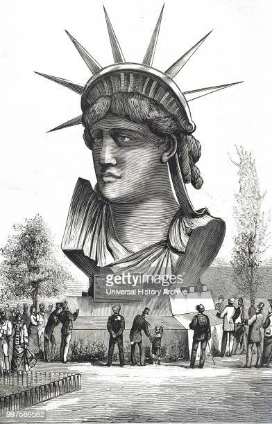 Engraving depicting Frederic Auguste Bartholdi's Statue of Liberty Frederic Auguste Bartholdi a French sculptor Dated 19th century