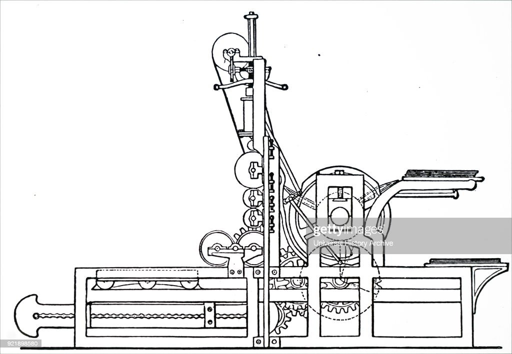 Engraving depicting Friedrich Koenig's mechanical cylinder printing press of 1813. Friedrich Koenig (1774-1833) a German inventor best known for his high-speed steam-powered printing press. Dated 19th century.